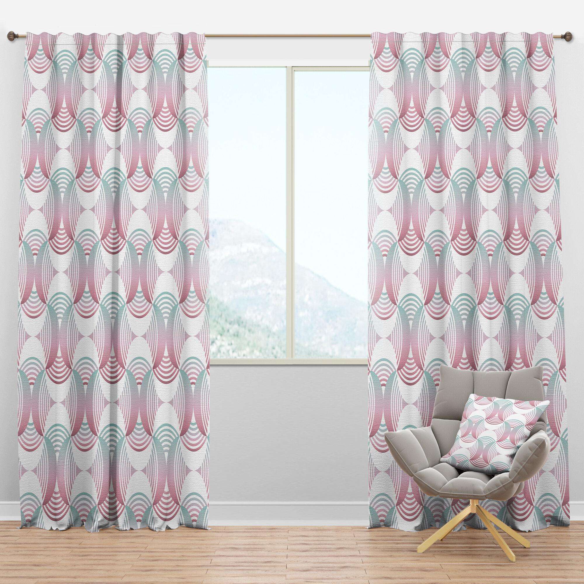 Designart Mid Century Retro Pattern I Geometric Semi Sheer Thermal Rod Pocket Curtain Panels Wayfair