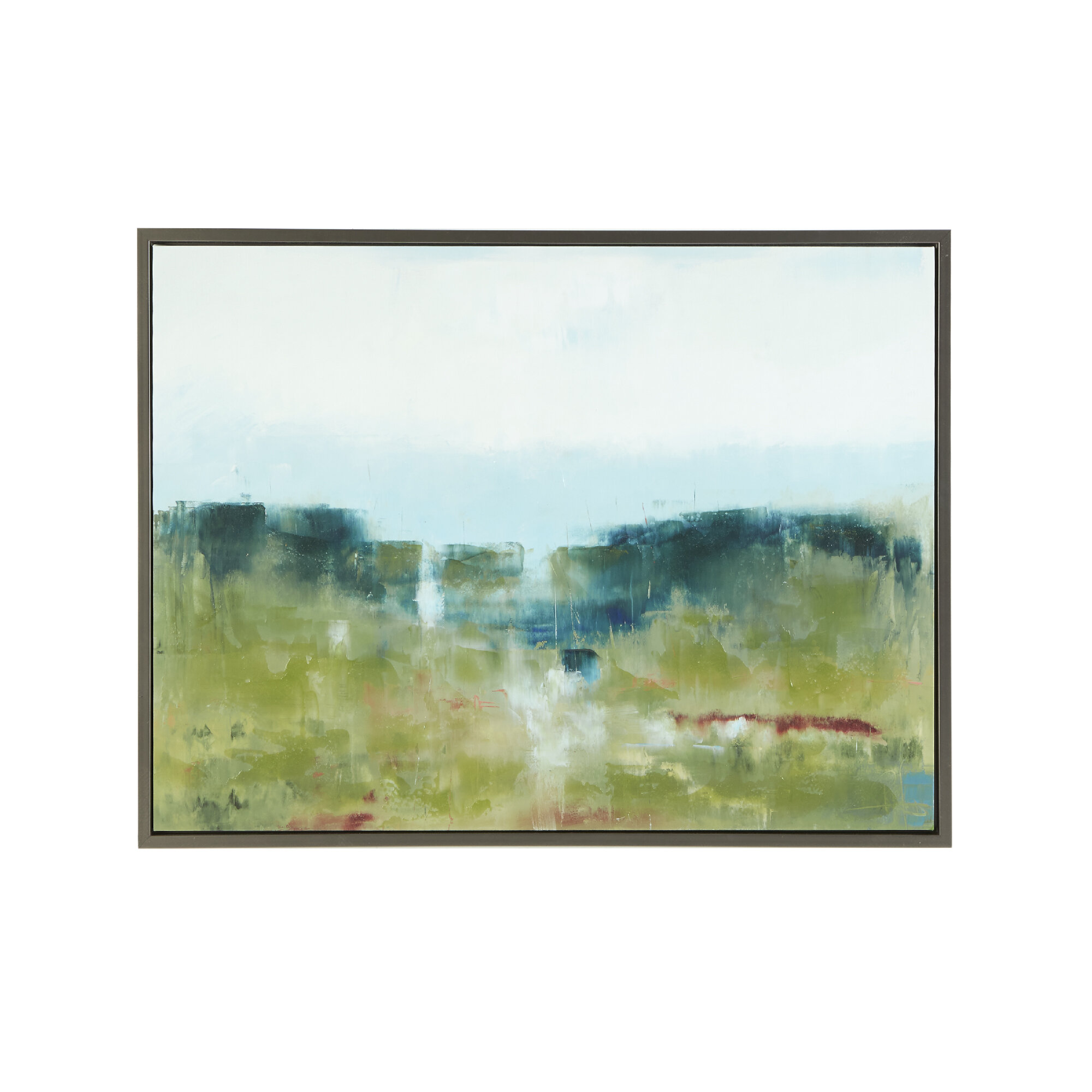 Madison Park Signature Hand Embellished Morning Fields Green Graphic Art On Wood And Canvas In Blue Reviews Wayfair