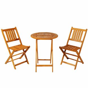 Rollo 3 Piece Folding Acacia Wood Patio Bistro Set
