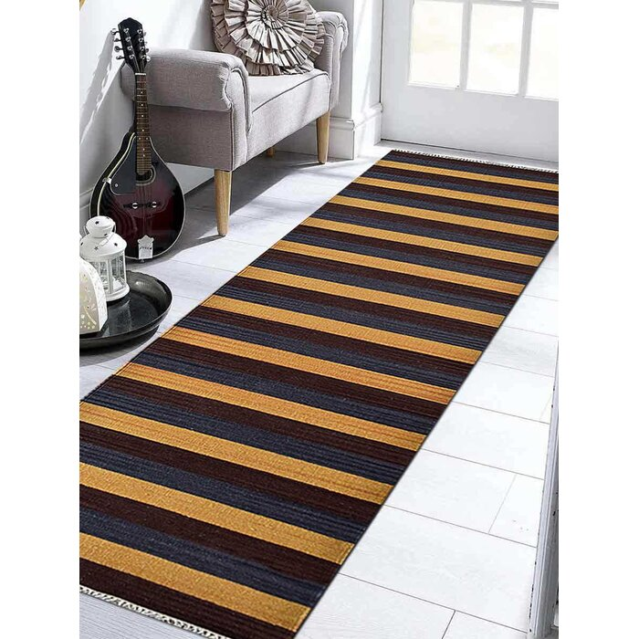 Modern Flat Weave Kilim Wool Carpet Indian Striped Oriental Multicolor Area Rug