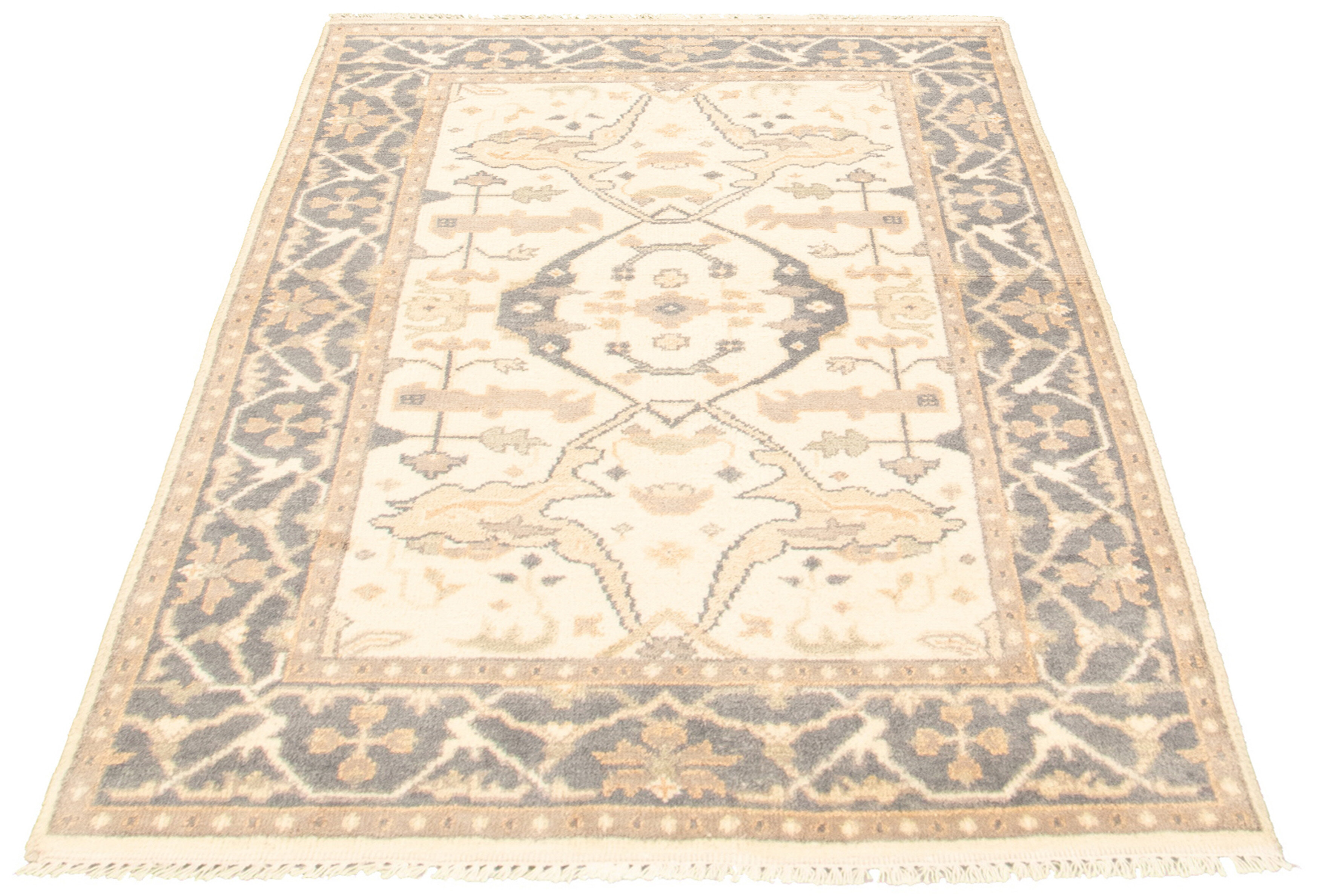 World Menagerie Bugrane Royal Hand Knotted Wool Cream Area Rug Wayfair