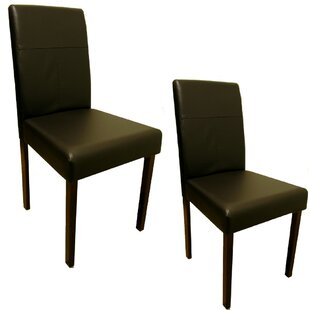 Lindenhurst Leather Upholstered Dining Chair (Set of 2)