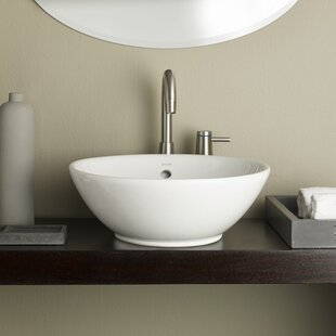 Cheviot Products Water Lily Ceramic Circular Vessel Bathroom Sink with Overflow