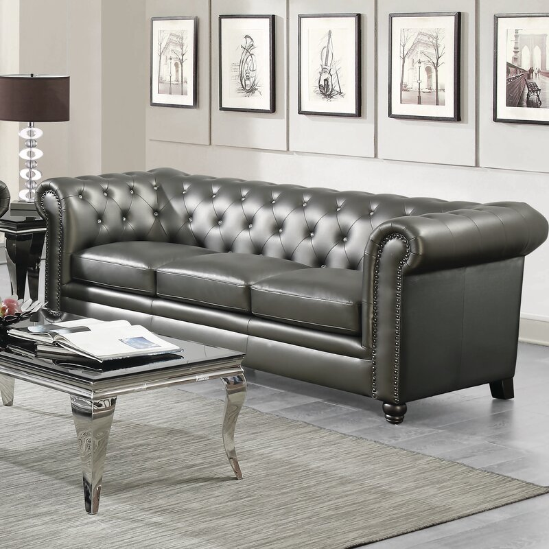 Charmant Seevers Leather Chesterfield Sofa