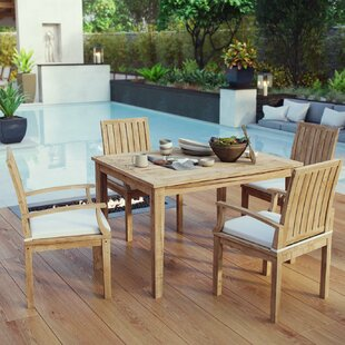 Cobb 5 Piece Teak Dining Set With Cushions by Rosecliff Heights Spacial Price