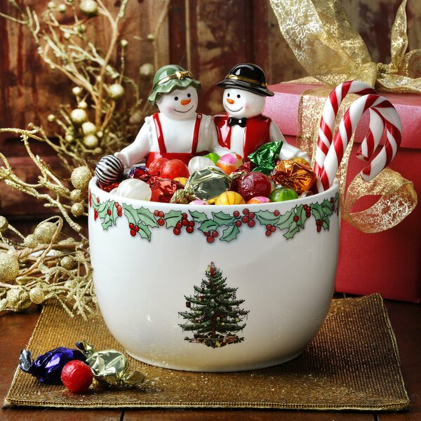 Christmas Tree Figural Mr And Mrs Snowman Dining Bowl
