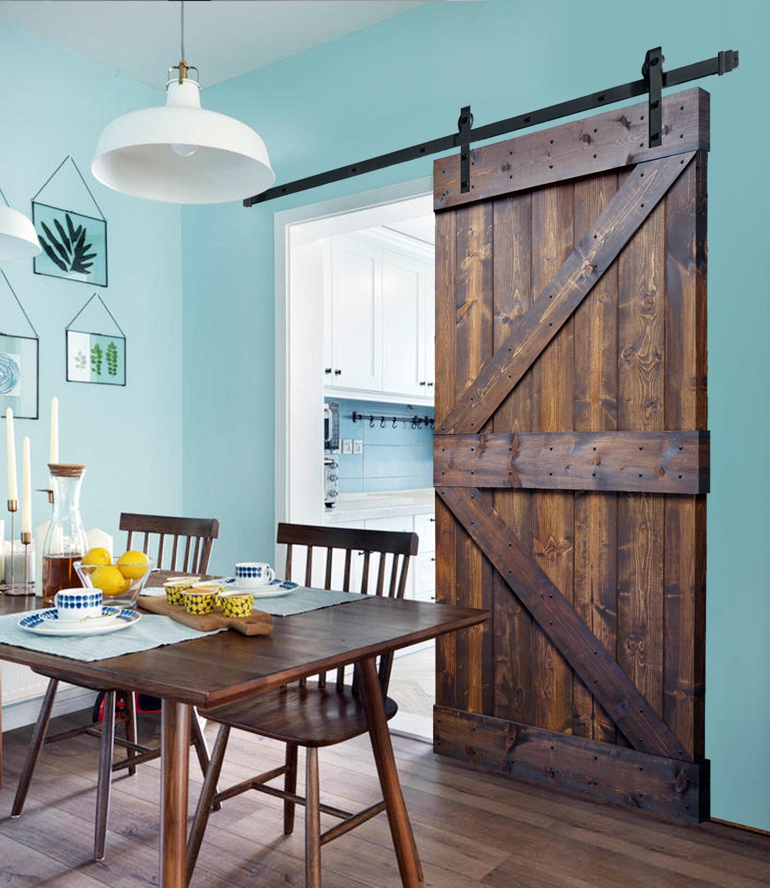 Paneled Wood Painted K Series Diy Sliding Barn Door Without Installation Hardware Kit