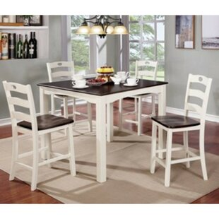 Valladares 5 Piece Counter Height Solid Wood Dining Set August Grove