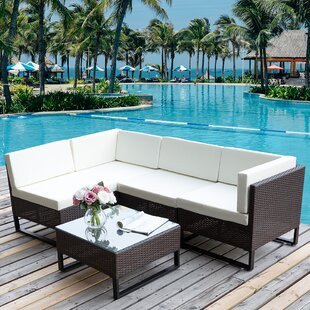 Geist 5 Piece Rattan Sectional Set with Cushions