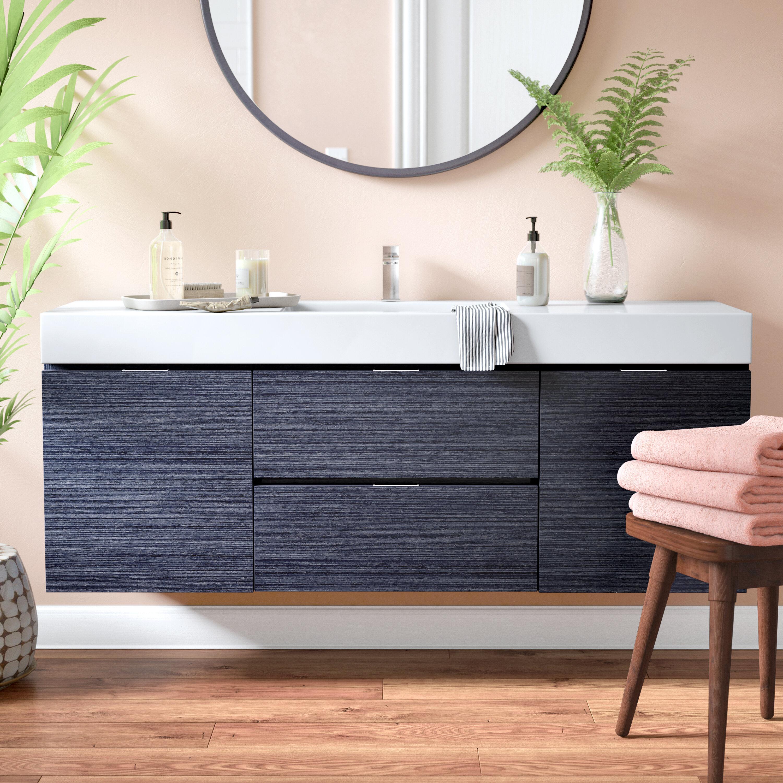 Wade Logan Tenafly 59 Wall Mounted Single Bathroom Vanity Set Reviews Wayfair