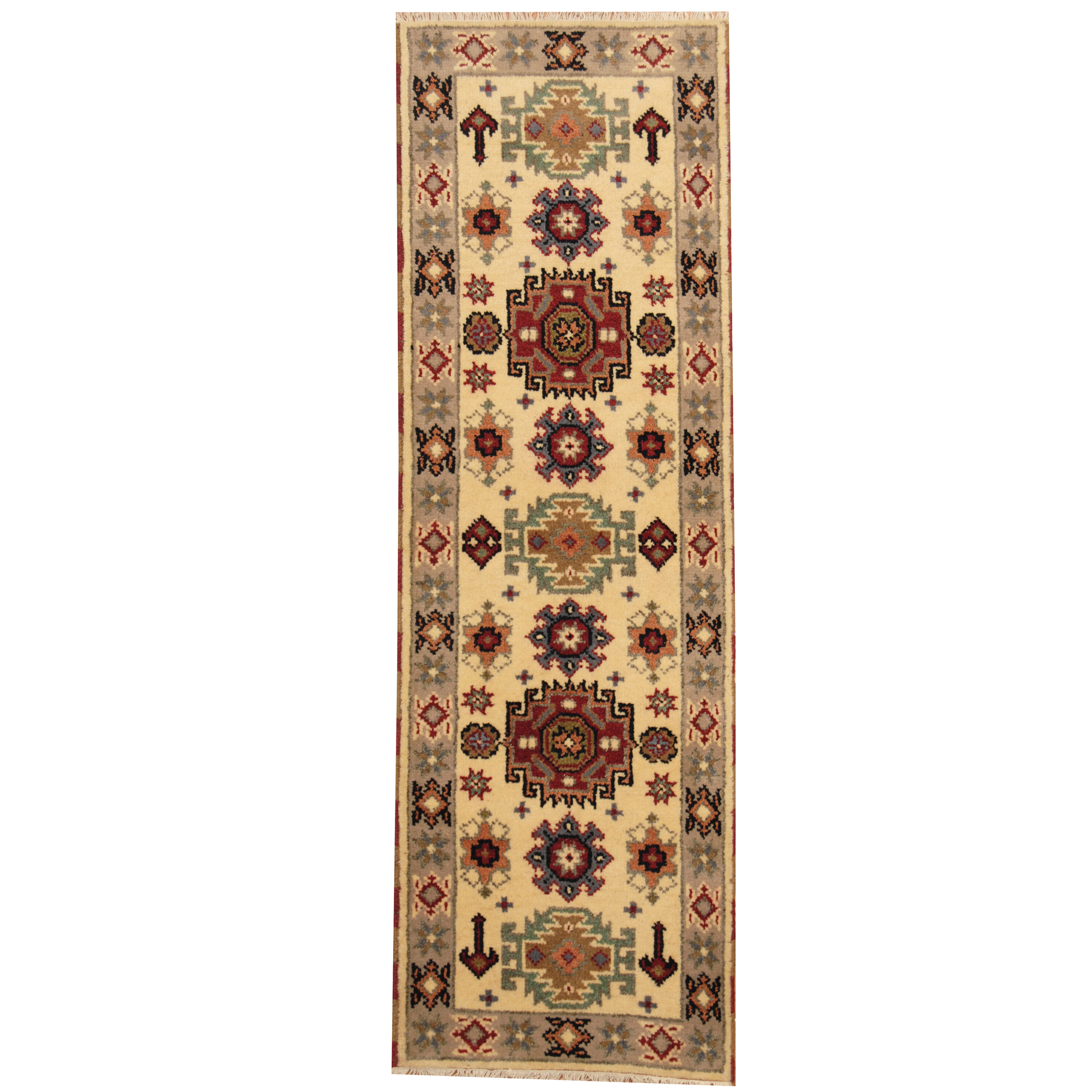 Isabelline One Of A Kind Jevon Hand Knotted Ivory Gray 2 1 X 6 6 Runner Wool Area Rug Wayfair