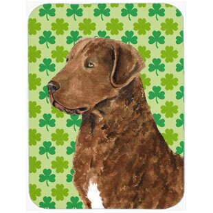 Shamrock Lucky Irish Chesapeake Bay Retriever St. Patrick's Day Glass Cutting Board By Caroline's Treasures