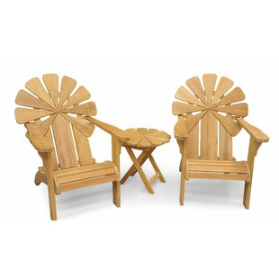 Veun Petals Teak Adirondack Chair with Table by Bay Isle Home
