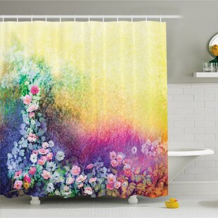 Affordable Watercolor Flower Home Ivy Floral Beauty in Spring Soft Natural Paradise Print Shower Curtain Set ByAmbesonne