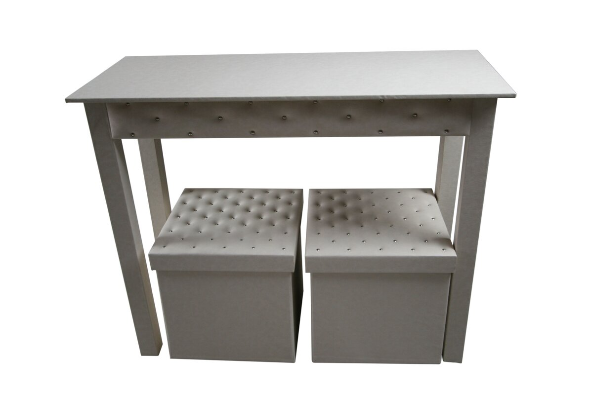 Console table with stools wayfair console table and 2 matching storage ottomans geotapseo Choice Image