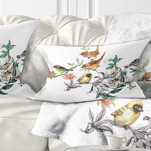 Tropical Flowers and Birds Birds Lumbar Pillow