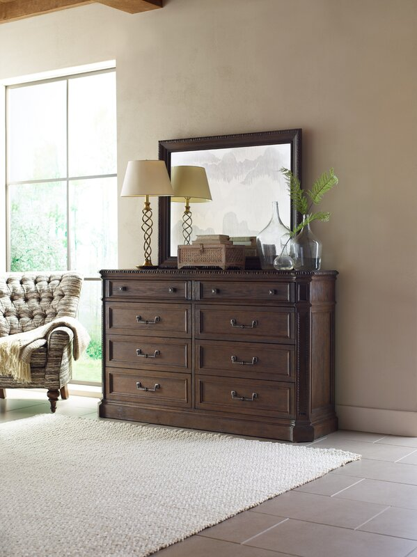 Rachael Ray Home 8 Drawer Double Dresser with Mirror