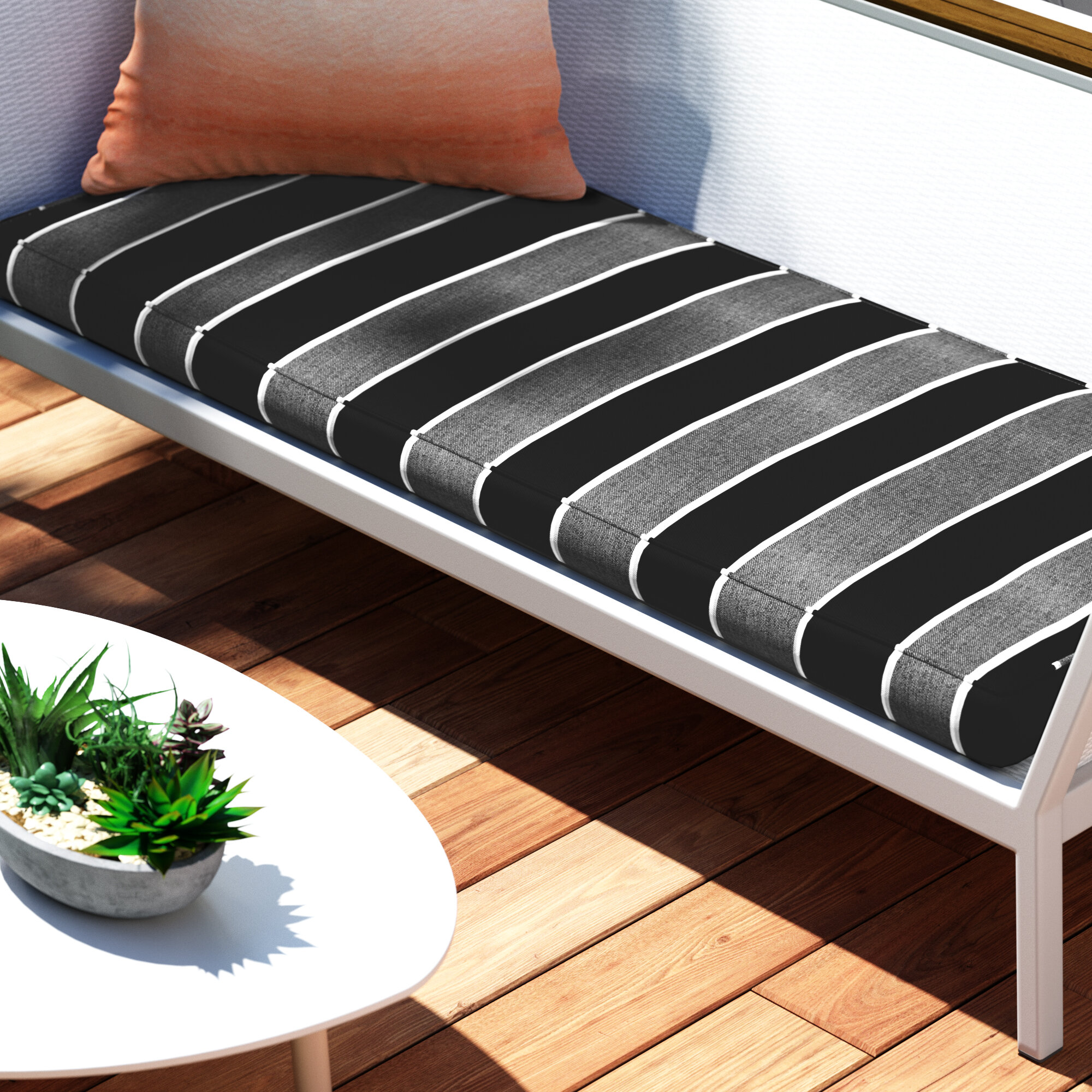 Tremendous Hinkel Indoor Outdoor Sunbrella Bench Cushion Caraccident5 Cool Chair Designs And Ideas Caraccident5Info