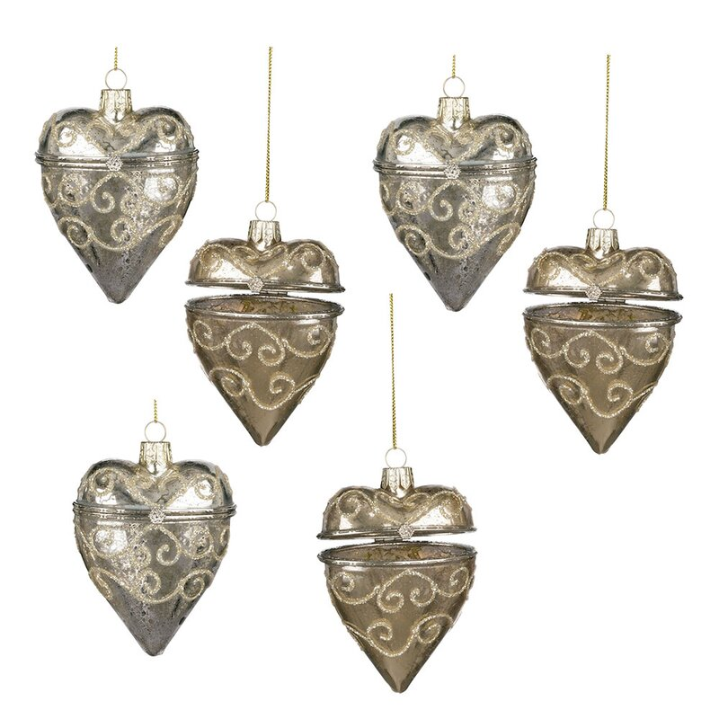 The Holiday Aisle 6 Piece Heart Box Hanging Figurine Ornament Set Wayfair