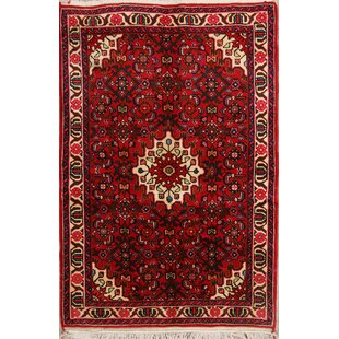 One-of-a-Kind Triston Geometric Tribal Hamedan Persian Hand-Knotted 3'6 x 5'1 Wool Burgundy/Black Area Rug Isabelline