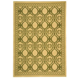 Short Natural/Olive Power Loomed Outdoor Rug