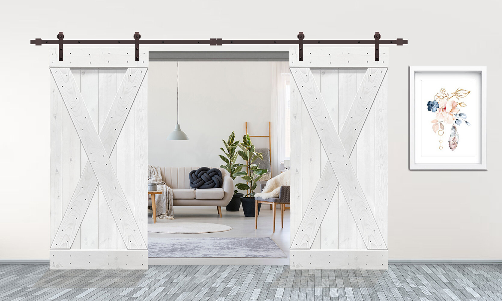 Calhome Paneled Wood And Metal Painted Stained Barn Door With Installation Hardware Kit Wayfair