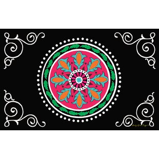 Top Reviews Boho Medallion Square Black Area Rug ByManual Woodworkers & Weavers
