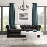 Mendon Genuine Leather Chesterfield 91 Rolled Arm Sofa by Greyleigh™