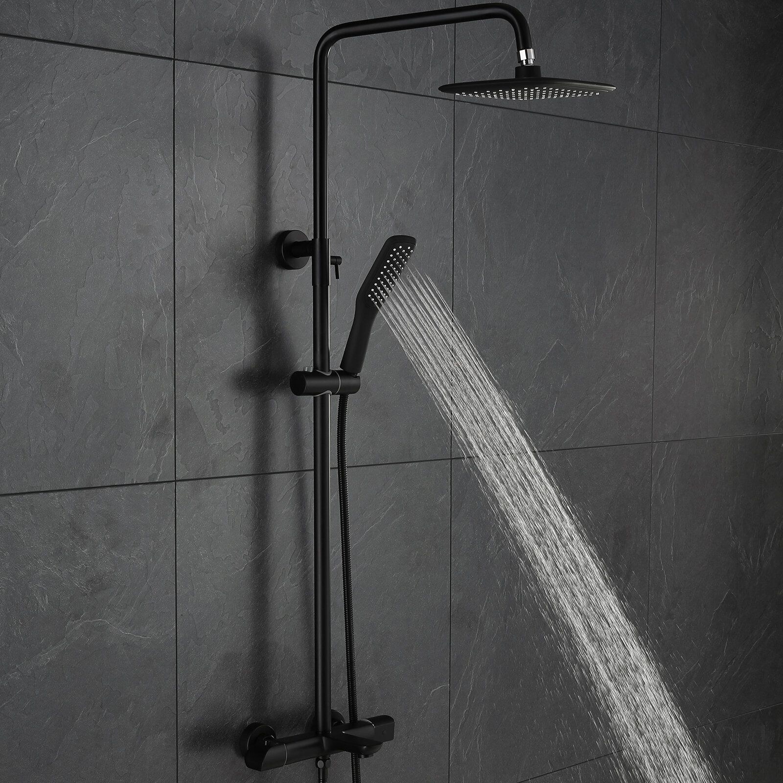 Matte Black Shower System Thermostatic Wall Mounted Exposed Shower Combo  Set Multifunction Shower Faucet Set With Shower Head, Handheld Shower, ...