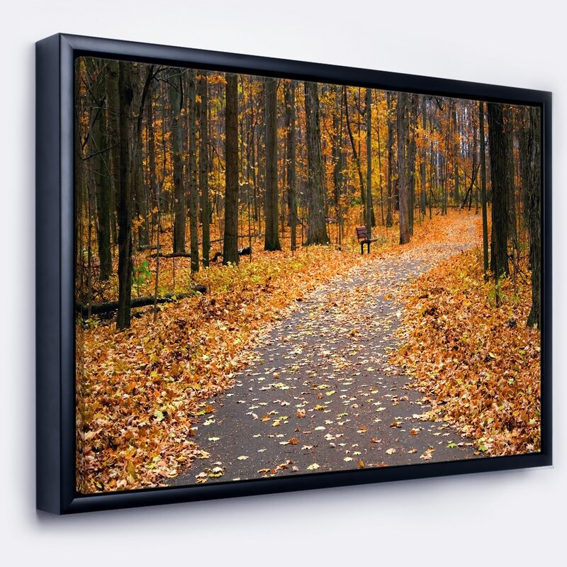 East Urban Home Autumn Walk Way With Fallen Leaves Framed Photographic Print On Wrapped Canvas Wayfair