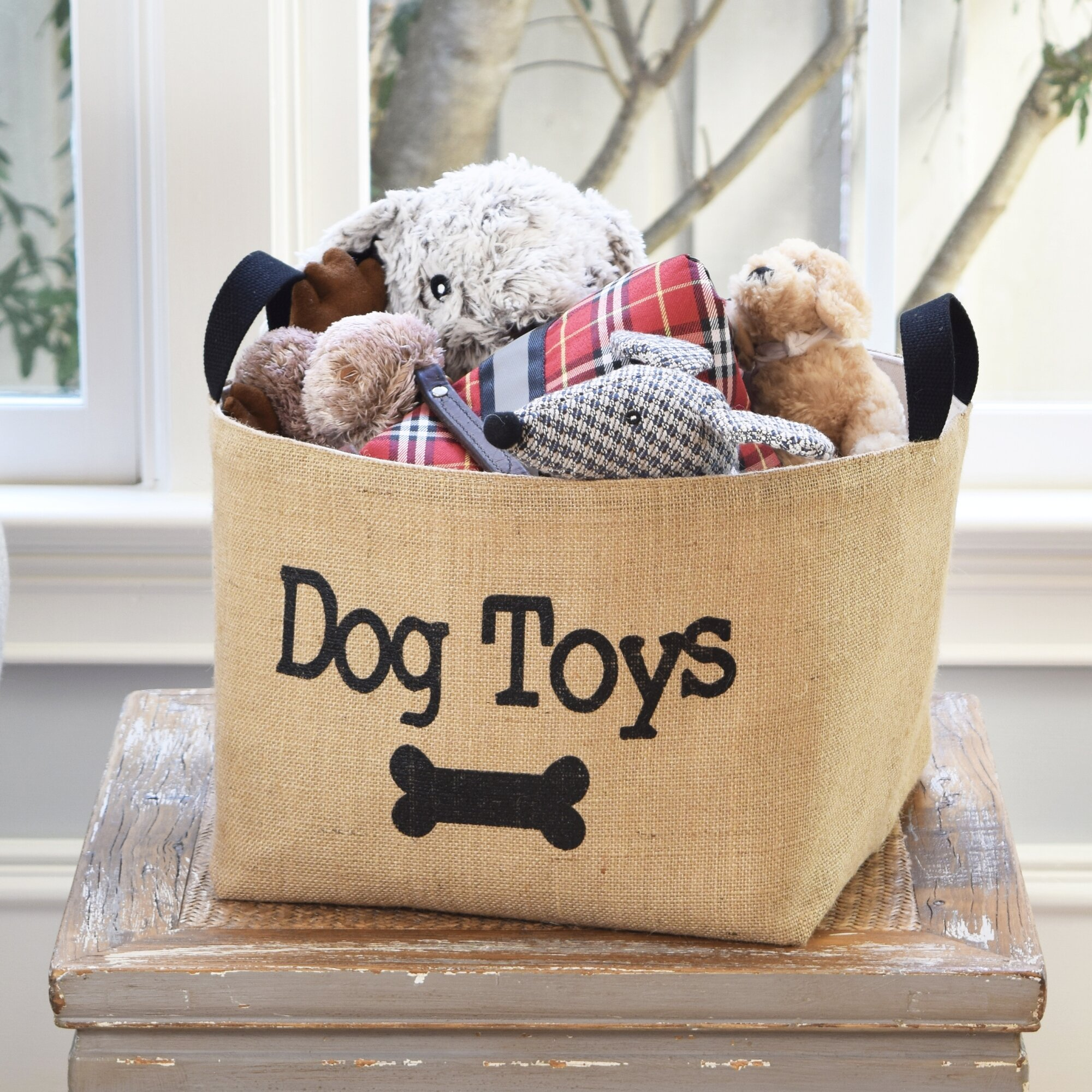 Rebrilliant Dog Toys Burlap Storage Basket Reviews