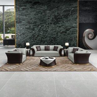 3 Pieces Vogue Sofa Set Grey Chocolate Italian Leather by European Furniture