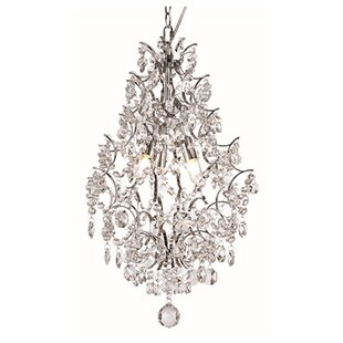 TransGlobe Lighting Silver Drop 3-Light Crystal Chandelier