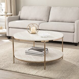 Mercer41 Stamper Faux Stone 2 Piece Coffee Table Set