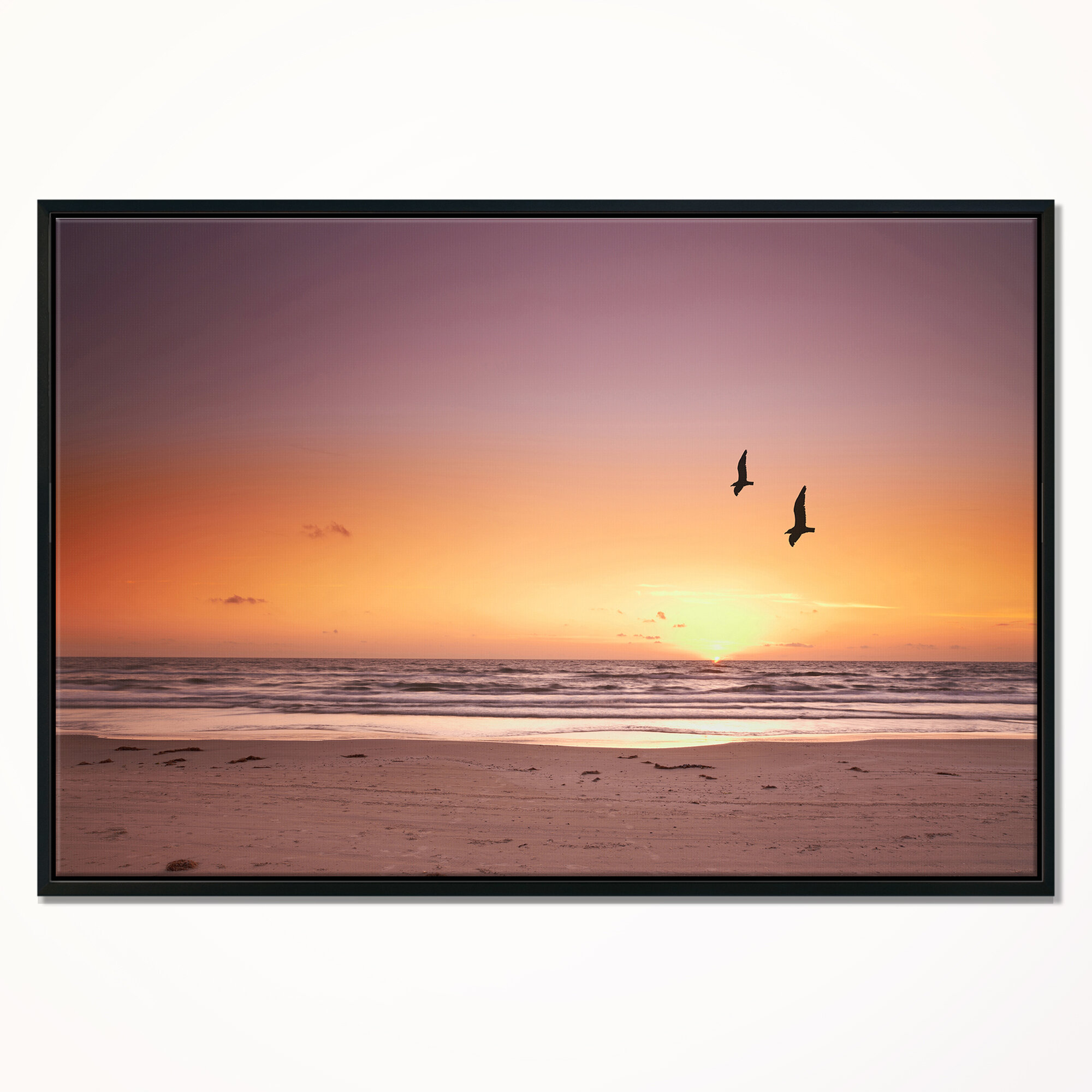 East Urban Home Beach Sunset And Sea Gulls Framed Graphic Art Print On Wrapped Canvas Wayfair