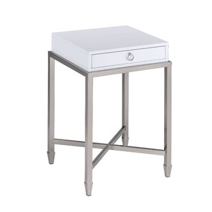 Woodman 1-Drawer Brushed Nickel End Table with Storage