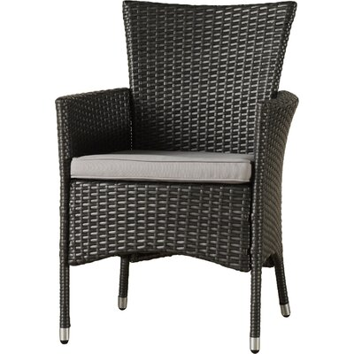 Carmack Patio Dining Chair with Cushion Frame Color: Gray, Cushion Color: Light Gray by Brayden Studio