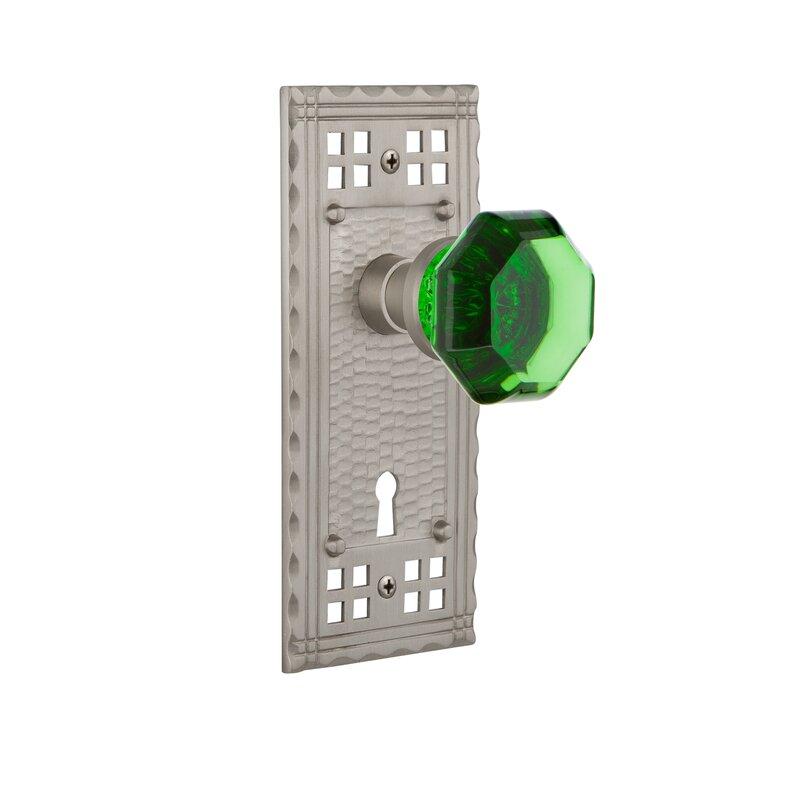 Nostalgic Warehouse Emerald Crystal Waldorf Passage Door Knob With Keyhole Craftsman Long Plate Wayfair