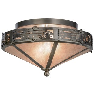 Meyda Tiffany Rainbow Trout 2-Light Semi Flush Mount