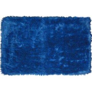 Flokati Dark Blue Area Rug