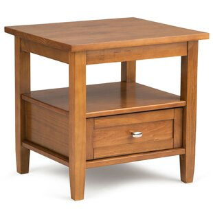 Reviews Warm Shaker End Table with Storage By Simpli Home