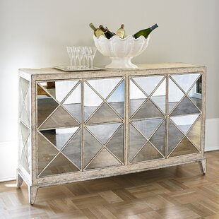 Antique Mirrored 4 Door Accent Chest by Ambella Home Collection