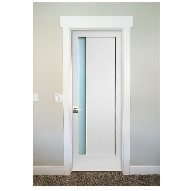 Merveilleux 1 Lite Narrow Satin Etch Solid Manufactured Wood Glass MDF Prehung Interior  Door