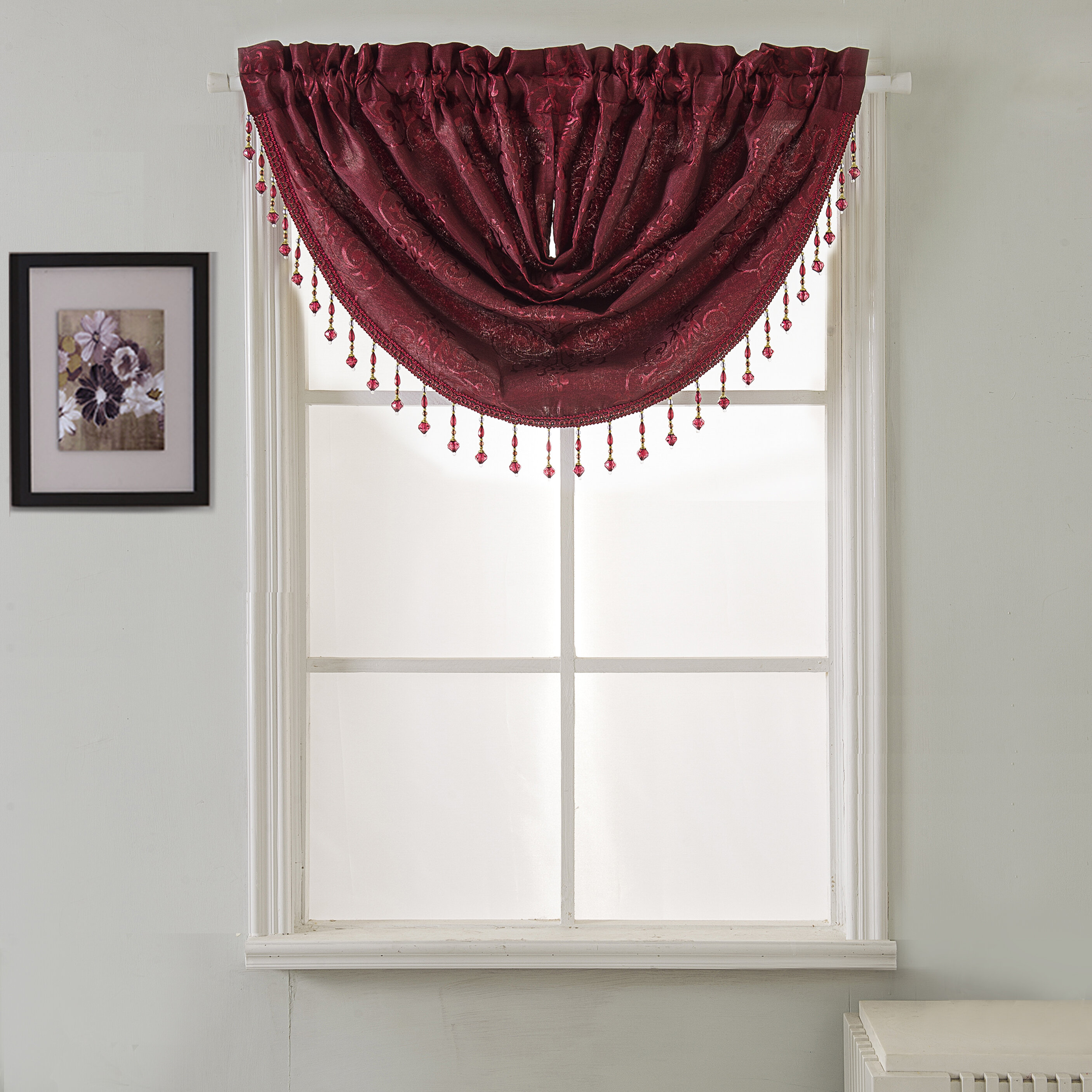 """MADE BY US 30/"""" wide BURGUNDY WINDOW DRESSING SWAGS FOR CURTAIN POLES"""