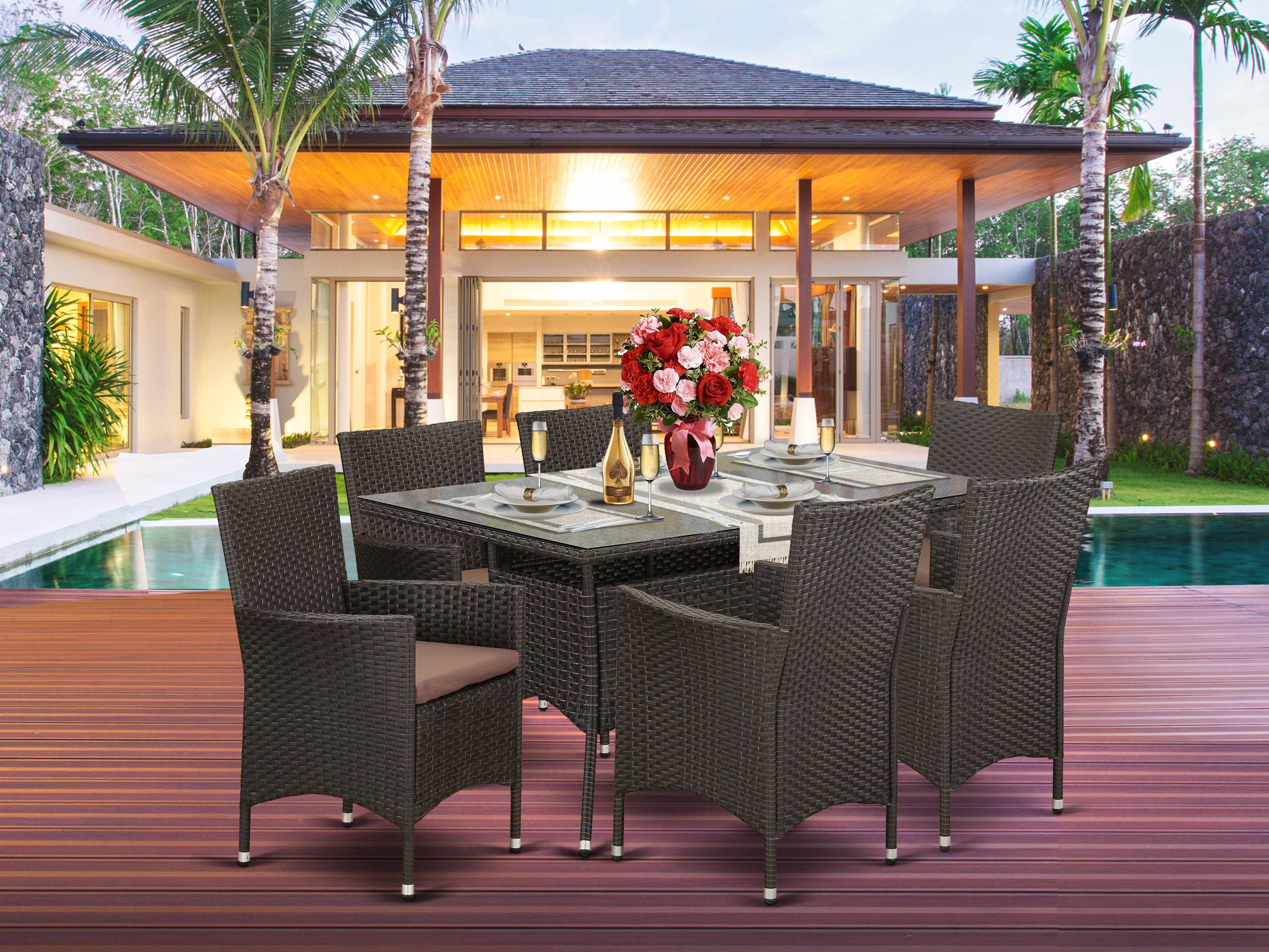 Pleasing Axl Backyard 7 Piece Dining Set With Cushions Lamtechconsult Wood Chair Design Ideas Lamtechconsultcom