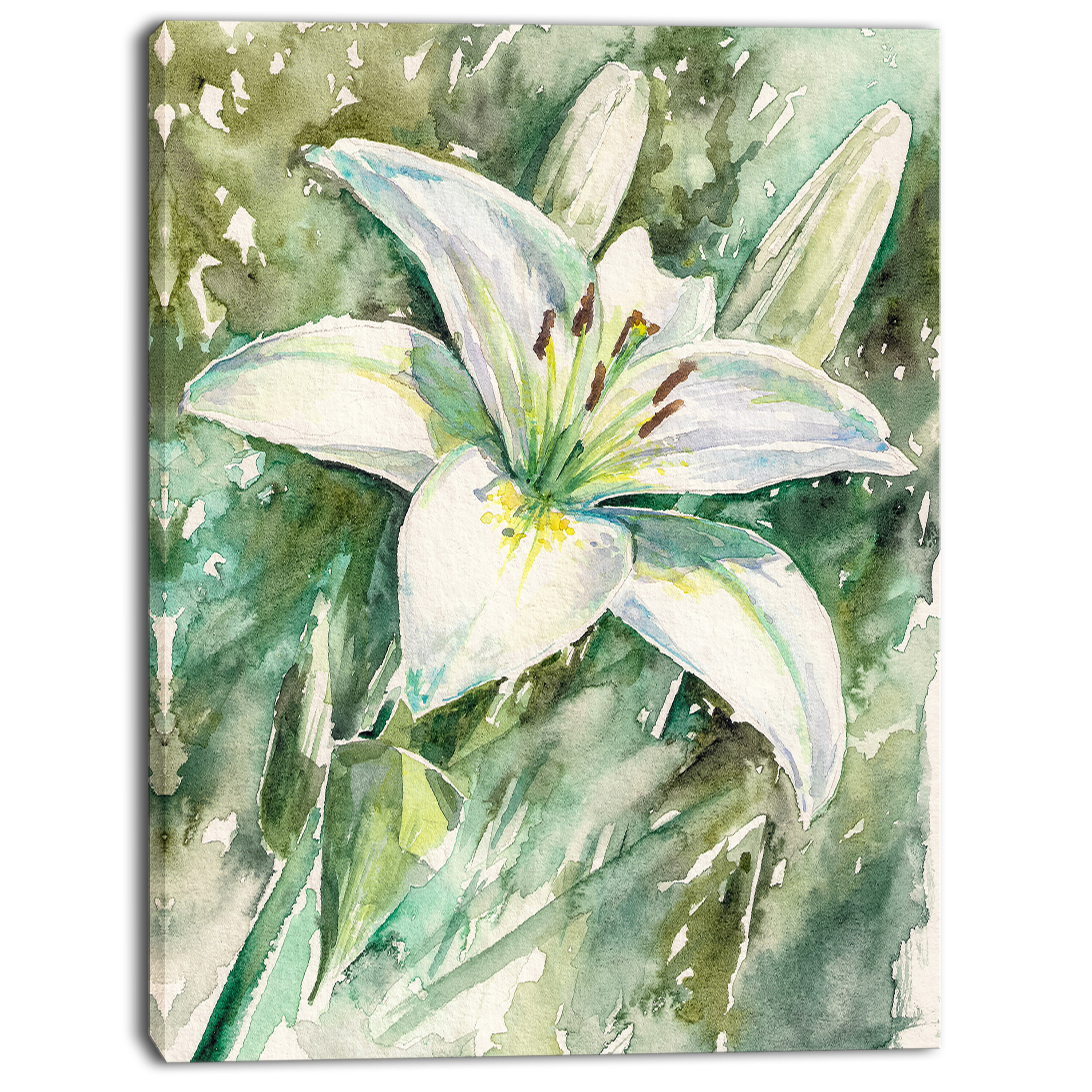 Designart Large White Lily Painting Print On Wrapped Canvas Wayfair