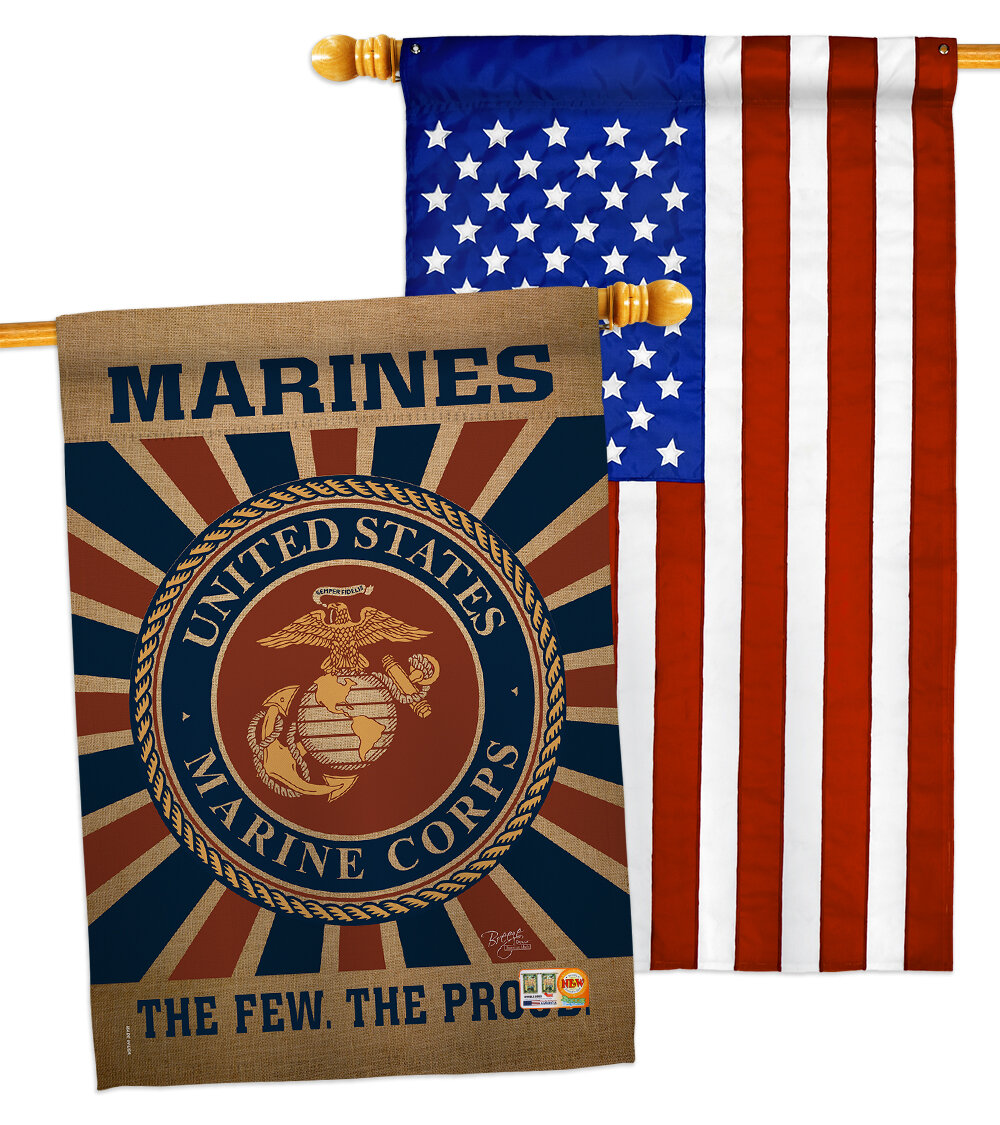 Breeze Decor 2 Piece Us Marines Corps Impressions Decorative 2 Sided Polyester 40 X 28 In House Flag Set Wayfair