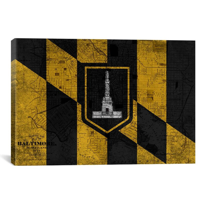 Baltimore Flag, Grunge Vintage Map Graphic Art on Canvas