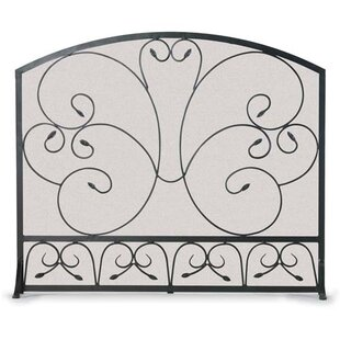 Country Scroll 1 Panel Steel Fireplace Screen by Pilgrim Hearth