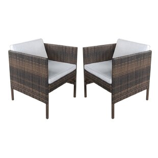 Wicker Arm Chair with Cushion (Set of 2) by Attraction Design Home
